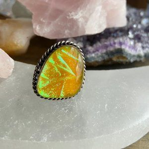 sterling silver yellow Australian opal ring